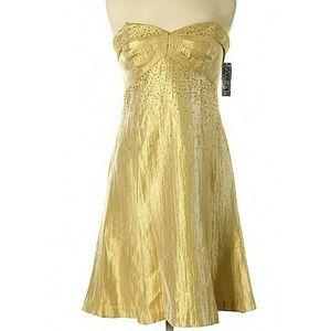 Alex Evenings Gold Beaded Midi Cocktail Dress 6P